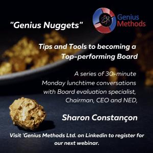 Genius Methods 'Genius Nuggets' Series. Board effectiveness Governance Board Evaluations